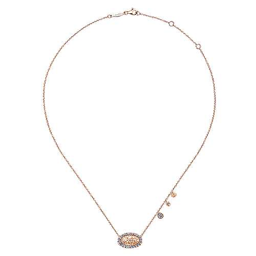 Hammered 14K Rose Gold Oval Pendant Necklace with Diamond Halo and Accent Drops