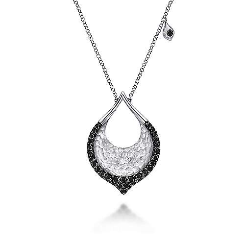 Hammered 925 Sterling Silver Black Spinel Teardrop Pendant Necklace