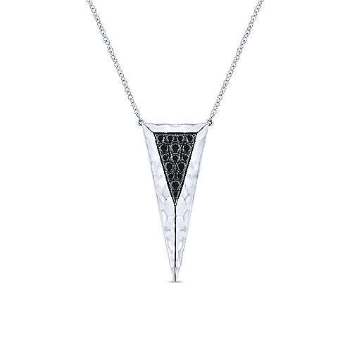 Hammered 925 Sterling Silver Black Spinel Triangle Pendant Necklace