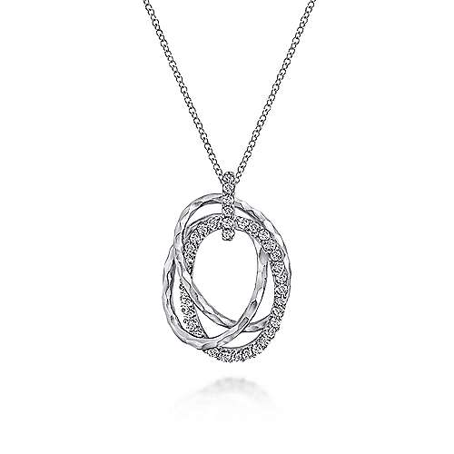 Hammered 925 Sterling Silver Layered Oval Shape White Sapphire Pendant Necklace