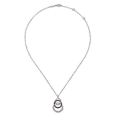 Hammered 925 Sterling Silver Multi Circle Garnet Pendant Necklace