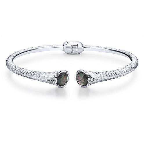 Hammered 925 Sterling Silver Rock Crystal and Black Mother Pearl Bangle