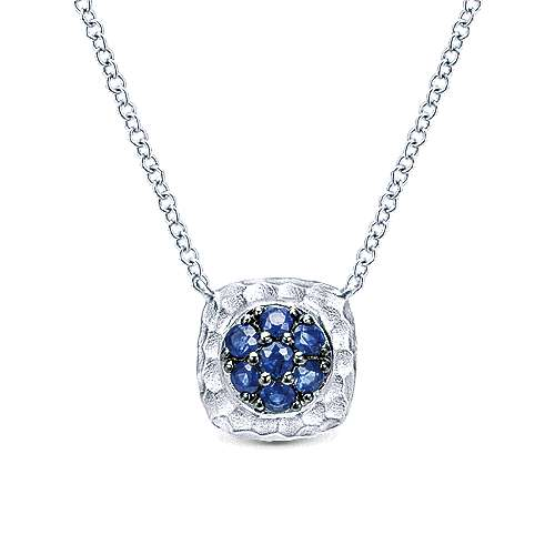 Hammered 925 Sterling Silver Sapphire Pavé Pendant Necklace