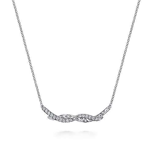 Hammered 925 Sterling Silver White Sapphire Twisted Bar Necklace