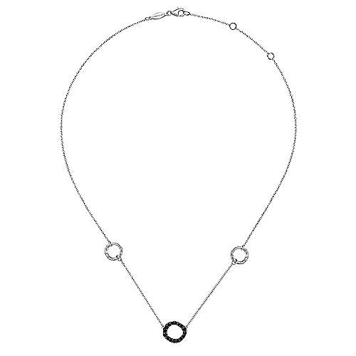 Hammered 925 Sterling Silver and Black Spinel Circle Station Necklace