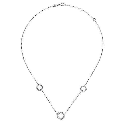 Hammered 925 Sterling Silver and White Sapphire Circle Station Necklace
