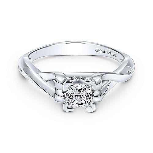 Gabriel - Harley 14k White Gold Princess Cut Twisted Engagement Ring
