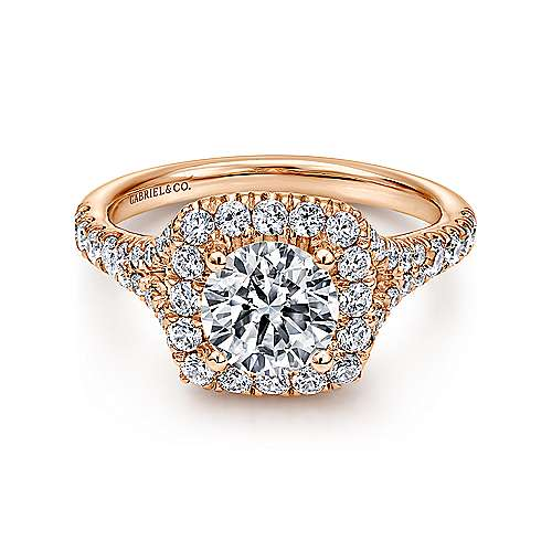 Harlow 14k Rose Gold Round Halo Engagement Ring angle 1