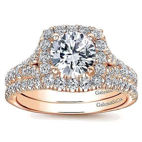 Harlow 14k Rose Gold Round Halo Engagement Ring angle 4