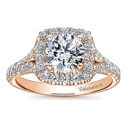 Harlow 14k Rose Gold Round Halo Engagement Ring angle 5