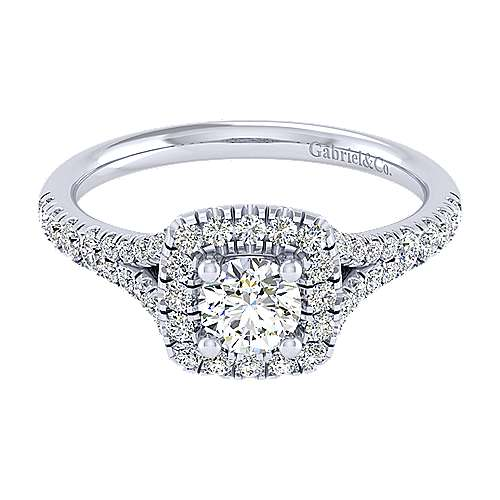 Harlow 14k White Gold Round Halo Engagement Ring angle 1