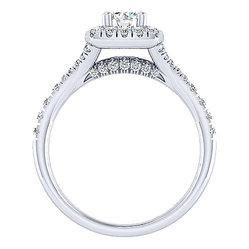 Harlow 14k White Gold Round Halo Engagement Ring angle 2