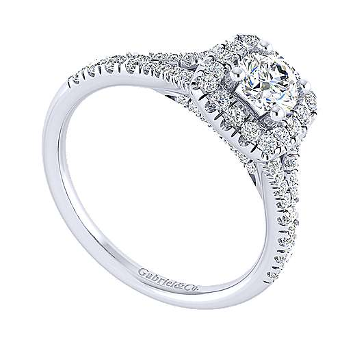 Harlow 14k White Gold Round Halo Engagement Ring angle 3