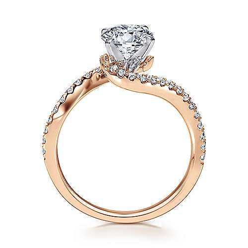 Harmony 14k White And Rose Gold Round Bypass Engagement Ring angle 2