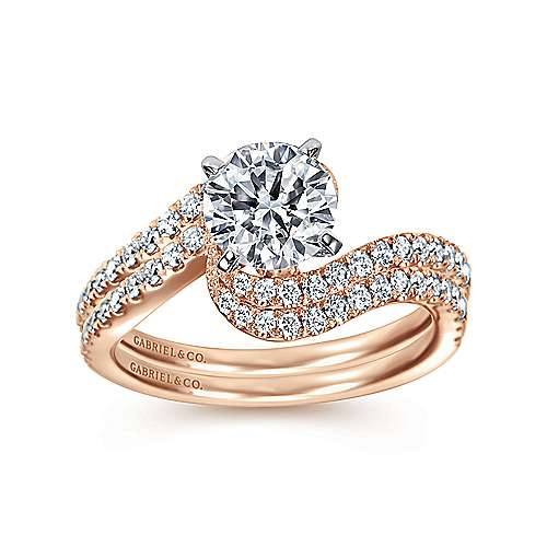 Harmony 14k White And Rose Gold Round Bypass Engagement Ring angle 4