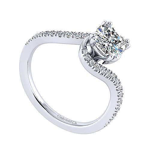 Harmony 14k White Gold Cushion Cut Bypass Engagement Ring angle 3