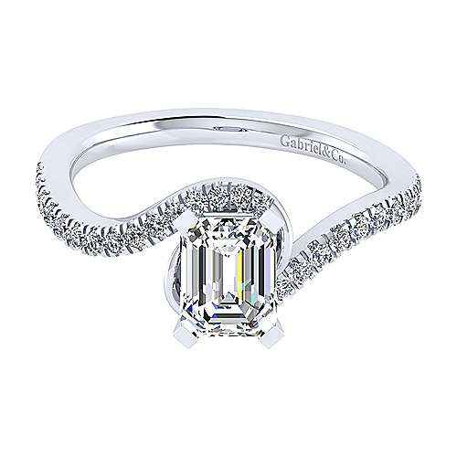 Gabriel - Harmony 14k White Gold Emerald Cut Bypass Engagement Ring