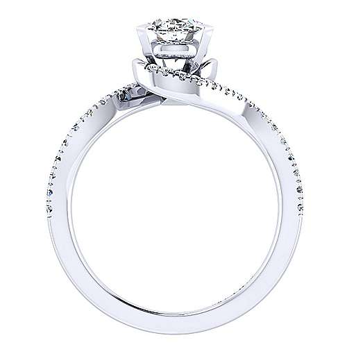 Harmony 14k White Gold Oval Bypass Engagement Ring angle 2