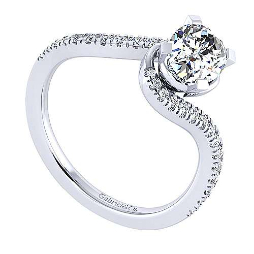 Harmony 14k White Gold Oval Bypass Engagement Ring angle 3