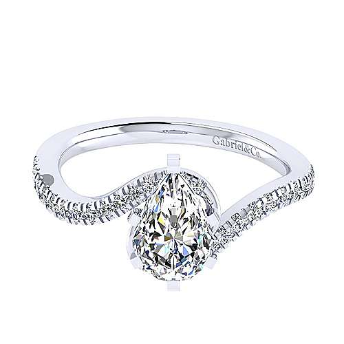 Gabriel - Harmony 14k White Gold Pear Shape Bypass Engagement Ring