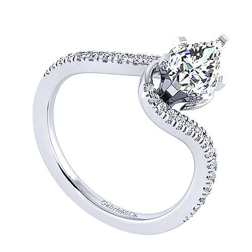 Harmony 14k White Gold Pear Shape Bypass Engagement Ring angle 3