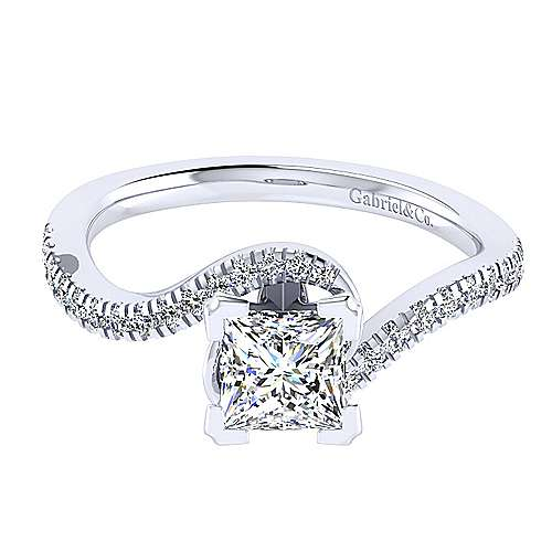 Gabriel - Harmony 14k White Gold Princess Cut Bypass Engagement Ring