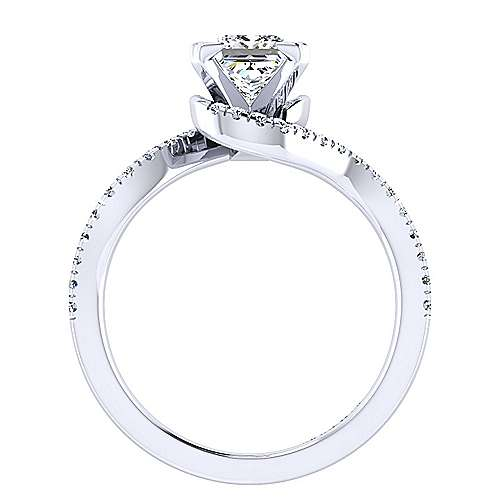 Harmony 14k White Gold Princess Cut Bypass Engagement Ring angle 2
