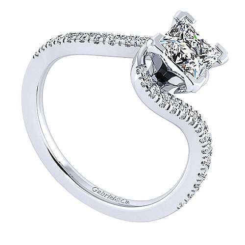 Harmony 14k White Gold Princess Cut Bypass Engagement Ring angle 3