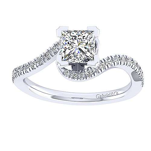 Harmony 14k White Gold Princess Cut Bypass Engagement Ring angle 5
