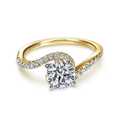 Gabriel - Harmony 14k Yellow And White Gold Round Bypass Engagement Ring