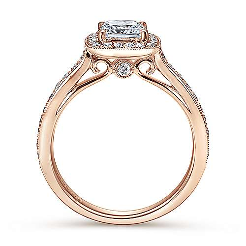 Harper 14k Rose Gold Cushion Cut Halo Engagement Ring angle 2