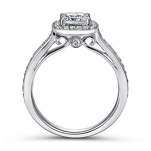 Harper 14k White Gold Cushion Cut Halo Engagement Ring angle 2