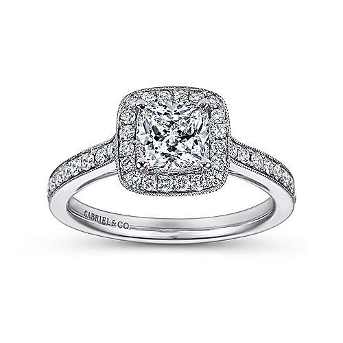 Harper 14k White Gold Cushion Cut Halo Engagement Ring angle 5