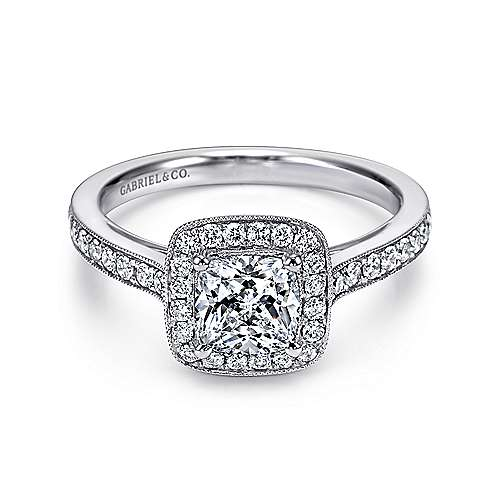 Harper 14k White Gold Cushion Cut Halo Engagement Ring angle 1