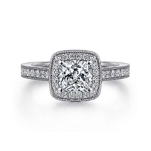 Gabriel - Harper 14k White Gold Cushion Cut Halo Engagement Ring
