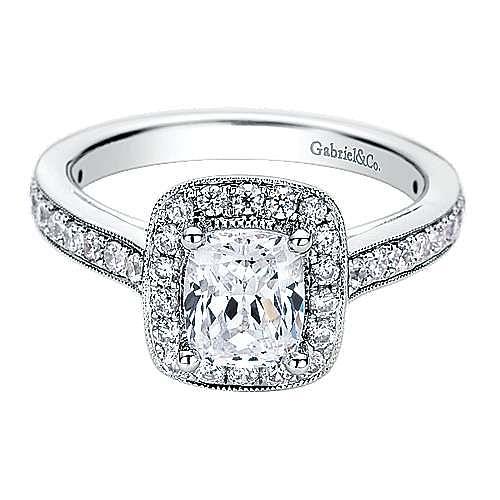 Harper 14k White Gold Cushion Cut Halo Engagement Ring angle 1
