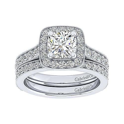 Harper 14k White Gold Cushion Cut Straight Engagement Ring angle 4