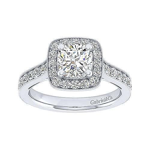 Harper 14k White Gold Cushion Cut Straight Engagement Ring angle 5