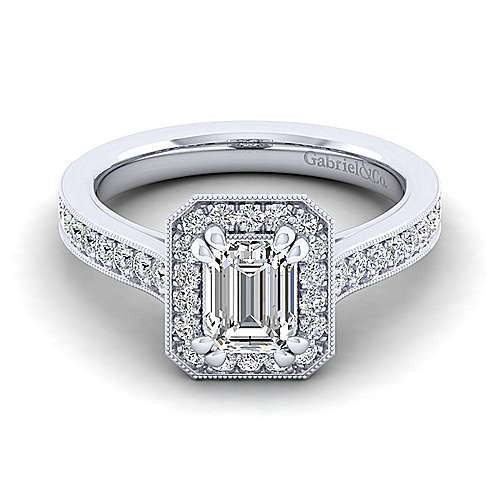 Gabriel - Harper 14k White Gold Emerald Cut Halo Engagement Ring