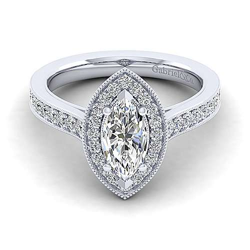 Gabriel - Harper 14k White Gold Marquise  Halo Engagement Ring