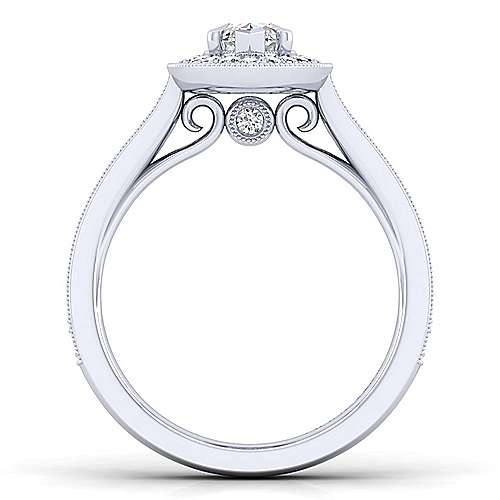 Harper 14k White Gold Marquise  Halo Engagement Ring