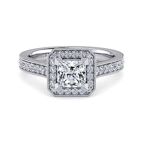 Gabriel - Harper 14k White Gold Princess Cut Halo Engagement Ring