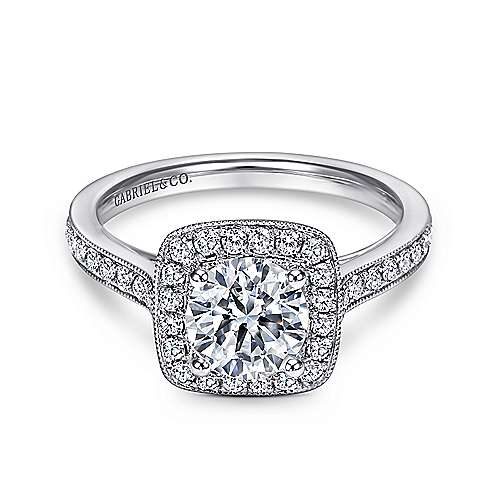 Gabriel - Harper 14k White Gold Round Halo Engagement Ring