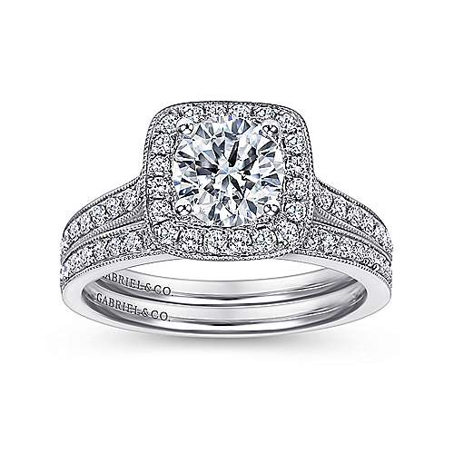 Harper 14k White Gold Round Halo Engagement Ring angle 4