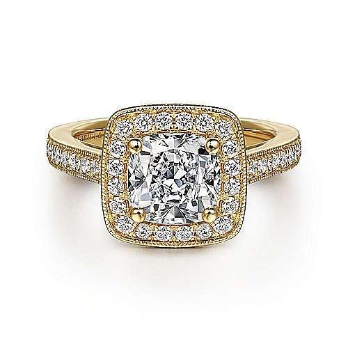 Harper 14k Yellow Gold Cushion Cut Halo Engagement Ring angle 1