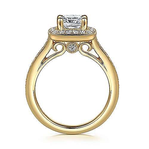 Harper 14k Yellow Gold Cushion Cut Halo Engagement Ring angle 2