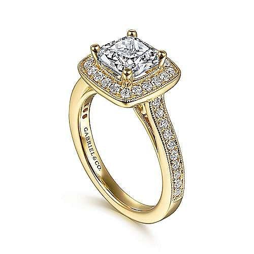 Harper 14k Yellow Gold Cushion Cut Halo Engagement Ring angle 3