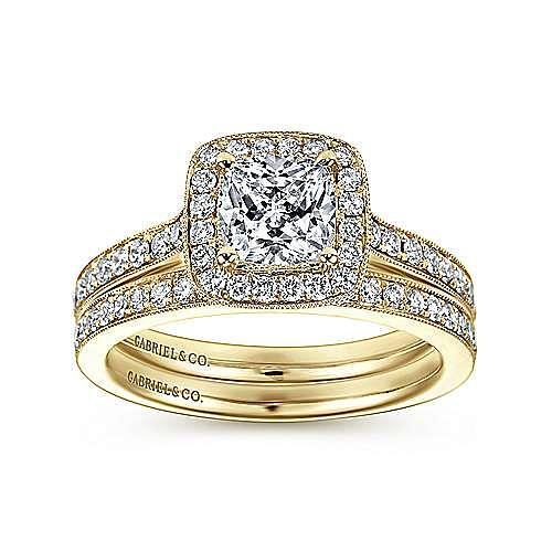 Harper 14k Yellow Gold Cushion Cut Halo Engagement Ring angle 4