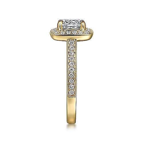 Harper 14k Yellow Gold Cushion Cut Halo Engagement Ring angle 5