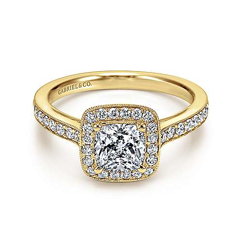 Gabriel - Harper 14k Yellow Gold Cushion Cut Halo Engagement Ring